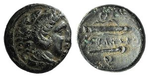 D/ Kings of Macedon, Alexander III 'the Great' (336-323 BC). Æ (16mm, 5.20g, 7h). Uncertain mint in Macedon, 336-323. Head of Herakles r., wearing lion skin. R/ Bow, quiver and club; Δ (?) above. Cf. Price 294. Good Fine