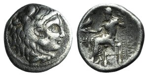 D/ Kings of Macedon, Alexander III 'the Great' (336-323 BC). AR Drachm (16mm, 3.16g, 10h). Miletos, c. 325-3. Head of Herakles r., wearing lion skin. R/ Zeus Aëtophoros seated l.; monogram in l. field. Price 2090. Good Fine