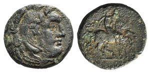 D/ Kings of Macedon, Philip III Arrhidaios (323-317 BC). Æ Unit (19mm, 5.51g, 12h). Uncertain mint in Macedon. Head of Herakles r., wearing lion skin. R/ Horseman riding r. Price P2. Brown patina, Good Fine