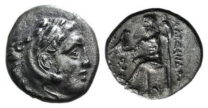 D/ Kings of Macedon, Philip III Arrhidaios (323-317 BC). AR Drachm (16mm, 3.84g, 9h). In the name of Alexander III. Lampsakos. Head of Herakles r., wearing lion skin. R/ Zeus Aëtophoros seated l.; buckle and Δ in l. field, AI below throne. Price 1379A. Dark patina, VF
