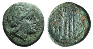 D/ Kings of Thrace, Seleukid. Adaios (c. 253-243 BC). Æ (21mm, 8.56g, 11h). Laureate head of Apollo r. R/ Tripod; two monograms to l. Cf. SNG Black Sea 322. Green patina, Good Fine