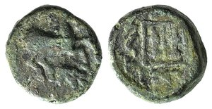 D/ Thrace, Maroneia, c. 398/7-348/7 BC. Æ (14mm, 4.12g, 3h). Horse prancing r.; monogram below. R/ Grape vine within linear square. Cf. Schönert-Geiss 721-905. Green patina, Good Fine