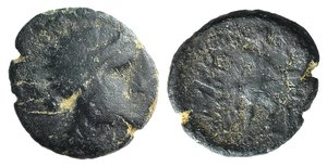 D/ Islands of Thrace, Imbros, c. 350-300 BC. Æ (14mm, 2.06g, 12h). Head of Persephone r. R/ Hermes Imbrambus standing right before thymiaterion; grain ear to r. SNG Copenhagen 956; HGC 6, 279. Green patina, Good Fine