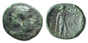 D/ Islands of Thrace, Imbros, c. 350-300 BC. Æ (13mm, 2.26g, 12h). Head of Persephone r. R/ Hermes Imbrambus standing right before thymiaterion; grain ear to r. SNG Copenhagen 956; HGC 6, 279. Green patina, Good Fine