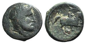 D/ Thessaly, Krannon, c. 400-300 BC. Æ Dichalkon (18mm, 5.09g, 9h). Laureate head of Zeus r. R/ Horseman advancing r. BCD Thessaly II 117.1; Rogers 182. Green patina, Fine