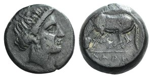 D/ Thessaly, Larissa, c. 400-350 BC. Æ Dichalkon (16mm, 5.06g, 7h). Head of the nymph Larissa r. R/ Horse crouching l., about to roll. BCD Thessaly II 277; Rogers 294, fig. 143. Green patina, near VF