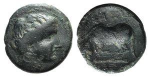 D/ Thessaly, Larissa, c. 400-350 BC. Æ Dichalkon (16mm, 3.33g, 6h). Head of Nymph Larissa r. R/ Horse crouching l., about to roll. BCD Thessaly II 277; Rogers 294, fig. 143. Near VF