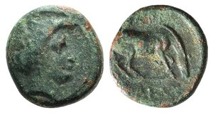 D/ Thessaly, Larissa, c. 350-300 BC. Æ Dichalkon (16mm, 4.02g, 12h). Head of Nymph r. R/ Horse grazing r. BCD Thessaly II 390. Near VF