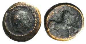 D/ Thessaly, Phalanna, c. 370-350 BC. Æ Chalkous (13mm, 2.17g, 3h). Helmeted head of Athena r. R/ Bridled horse galloping r., with trailing rein. BCD Thessaly II 577. Brown patina, near VF