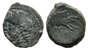 D/ Northern Apulia, Arpi, c. 325-275 BC. Æ (15mm, 3.11g, 12h). Laureate head of Zeus l.; thunderbolt behind. R/ Forepart of boar r., spear above. HNItaly 643. Green patina, near VF
