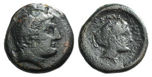 D/ Thessaly, Phalanna, 4th century BC. Æ Dichalkon (19mm, 7.67g, 5h). Youthful male head r. R/ Head of nymph r., wearing earring and necklace, hair in sakkos. BCD Thessaly II 591. Good Fine