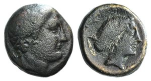 D/ Thessaly, Phalanna, 4th century BC. Æ Dichalkon (16mm, 5.12g, 1h). Youthful male head r. R/ Head of nymph r., wearing earring and necklace, hair in sakkos. BCD Thessaly II 591. Good Fine
