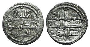 D/ Islamic, Almoravids, Murabitid. Ishaq bin `Ali (AH 540-541 / AD 1145-1146). AR Qirat (11mm, 0.94g, 7h). Medina Gomez, 145; Album, 475. VF