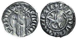 D/ Cilician Armenia, Hetoum I and Zabel (1226-1270). AR Tram (20mm, 2.62g, 4h). Zabel and Hetoum standing facing, holding long cross between them. R/ Lion walking r. with cross, head facing. Cf. CCA 944. Good Fine