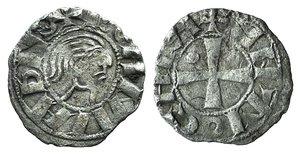 D/ Antioch, Bohemund III (Minority, 1149-1163). AR Denier (15mm, 0.84g, 1h). Young male head r. R/ Cross; crescent in second quarter. Metcalf, Crusades 349. VF