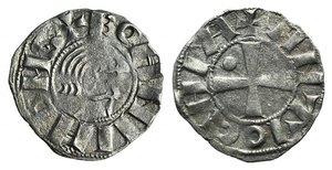 D/ Antioch, Bohemund III (Minority, 1149-1163). AR Denier (15mm, 0.91g, 9h). Young male head r. R/ Cross; crescent in second quarter. Metcalf, Crusades 349. VF