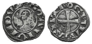 D/ Antioch, Bohemund III (1149-1163). BI Denier (17mm, 0.82g, 9h). Helmeted bust l. R/ Cross; crescent in second quarter. Metcalf Crusader 388-391. Near VF