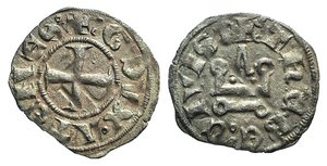 D/ Athens, Gui II de La Roche (1287-1308). BI Denier (18mm, 0.698g, 11h). Thebes. Cross pattée. R/ Château tournois. Metcalf, Crusades 942-950. Good VF