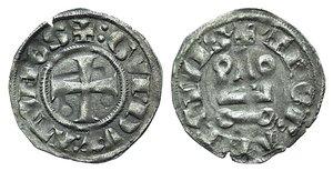 D/ Principality of Achaea. Gui II de La Roche(1287-1308). BI Denier (18mm, 0.74g, 6h). Thebes. Cross pattée. R/ Château tournois. Metcalf, Crusades 1059ff. Good VF