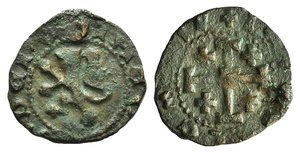 D/ Crusaders, Lusignan Kingdom of Cyprus. James II (1460-1473). Æ Sixain (17mm, 1.57g, 12h). Uncertain (Famagusta[?]) mint. Lion rampant l. R/ Jerusalem Cross. Metcalf 808-11; CCS 163. VF