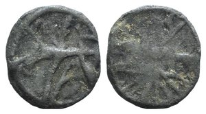 """D/ British Lead Token, c. 14th-17th century (21mm, 4.29g). Stranded cross. R/ Wheel. Cf. Martin Dean, """"Lead Tokens from the River Thames at Windsor and Wallingford"""" (NC Vol. XVII, 1977, pp. 137-147), n. 101."""