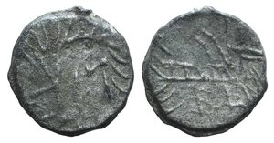 """D/ British Lead Token, c. 14th-17th century (18mm, 2.43g). Large MK retrograde. R/ Stylized horse r. (?). Cf. Martin Dean, """"Lead Tokens from the River Thames at Windsor and Wallingford"""" (NC Vol. XVII, 1977, pp. 137-147), n. 89."""