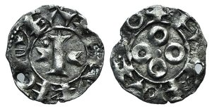 D/ France, Melgueil. Uncertain Count or Bishop, 13th century. BI Obol (16mm, 0.97g). Maguelonne. Cross with crossbars composed of episcopal mitres; pellet in first quarter. R/ Four annulets in cruciform pattern around central pellet. Poey d'Avant 3843; Roberts 4336. Holed, otherwise VF
