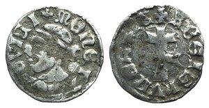 D/ Hungary, Louis I (1342-1348). AR Denar (13mm, 0.58g, 7h). Head of moor l. R/ Patriarchal cross. Huszár 547; Réthy 896. VF