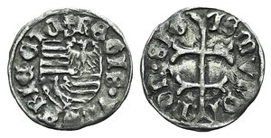 D/ Hungary, Sigismund of Luxemburg (1387-1437). AR Denar (12.5mm, 0.50g, 3h). Pécs, 1390-1427. Patriarchal cross. R/ Hungarian coat of arms; P above. Huszár 576; Réthy 121. Good VF