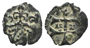 D/ Hungary, Sigismund of Luxemburg (1387-1437). BI Quarting (12mm, 0.30g, 11h). Patriarchal cross. R/ Crown. Huszár 586; Réthy 129. Green patina, VF