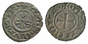 D/ Italy, Ancona, Republic, 13th century. AR Denaro (16mm, 0.60g, 7h). CVS. R/ Cross. Biaggi 33. Good VF