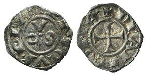 D/ Italy, Ancona, Republic, 13th century. AR Denaro (15mm, 0.64g, 3h). CVS. R/ Cross. Biaggi 33. VF - Good VF