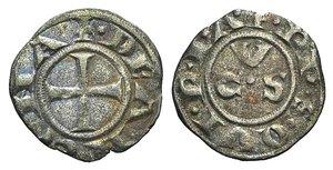 D/ Italy, Ancona, Republic, 13th century. AR Denaro (14mm, 0.66g, 6h). CVS. R/ Cross. Biaggi 33. VF - Good VF