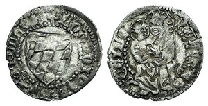 D/ Italy, Aquileia. Ludovico II (1412-1420). AR Soldo (16mm, 0.56g, 9h). Arms. R/ Virgin with child. Biaggi 193. VF