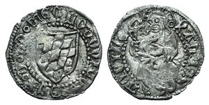 D/ Italy, Aquileia. Ludovico II (1412-1420). AR Soldo (16mm, 0.62g, 7h). Arms. R/ Virgin with child. Biaggi 193. VF