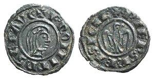 D/ Italy, Brindisi. Federico II (1198-1250). BI Denaro 1244 (18mm, 1.05g, 5h). Bare head r. R/ Eagle facing, head r. Spahr 128; MIR 286. Good VF