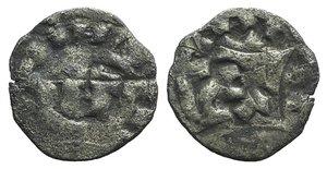 D/ Italy, Lucca. Enrico III, IV or V (1039-1125). BI Denaro (15mm, 0.75g). Monogram. R/ LVCA. Biaggi 1058. Near VF