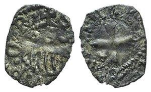D/ Italy, Rome. Senate, c. 14th-15th century. BI Denaro Provisino (14mm, 0.58g). Comb; star-S-crescent R/ Cross. Biaggi 2119. Near VF