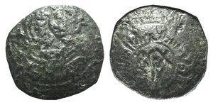 D/ Italy, Sicily, Messina. Guglielmo I (1154-1166). Æ Follaro Fraction (14mm, 1.09g, 6h). Virgin with Holy Child. R/ REX W within circle; Kufic legend around. Spahr 99; MIR 33. VF