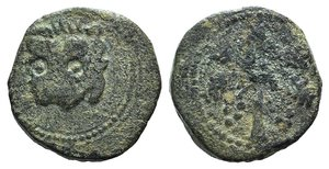 D/ Italy, Sicily, Messina. Guglielmo II (1166-1189). Æ Trifollaro (24mm, 10.31g, 12h). Head of lion. R/ Palm tree. Spahr 117; MIR 36. Green patina, near VF
