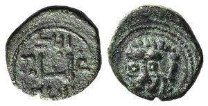 D/ Italy, Sicily, Messina. Guglielmo II (1166-1189). Æ Follaro (12mm, 1.81g). Head of lion. R/ Kufic legend. Spahr 118; MIR 37. Green patina, VF
