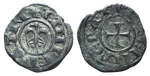 D/ Italy, Sicily, Messina. Enrico VI and Costanza (1191-1197). BI Denaro (15mm, 0.96g, 3h). Cross. R/ Eagle l.; two pellets below wings. Spahr 28 var. (no pellets); MIR 55 var. (same). Rare variant, VF