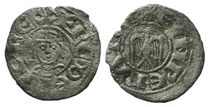 D/ Italy, Sicily, Messina. Enrico VI (1191-1197). BI Denaro (15mm, 0.50g, 1h). In the name of Federico II. Crowned bust facing. R/ Eagle facing, head l. Spahr 32; MIR 58. About VF