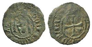 D/ Italy, Sicily, Messina. Carlo I d'Angiò (1266-1285). BI Denaro (16mm, 0.65g). KA. R/ Cross. Spahr 37. Near VF