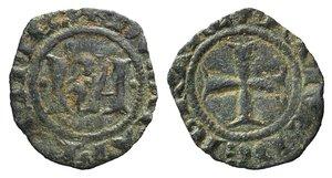 D/ Italy, Sicily, Messina. Carlo I d'Angiò (1266-1285). BI Denaro (14mm, 0.53g). KA. R/ Cross. Spahr 37. VF