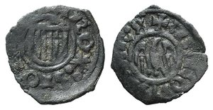 D/ Italy, Messina. Alfonso d'Aragona (1442-1458). BI Denaro (14mm, 0.58g, 11h). Arms. R/ Eagle. Spahr 38-9. VF
