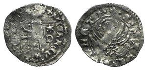 D/ Italy, Venezia. Michele Steno (1400-1413). BI Soldino (15mm, 0.34g, 6h). Doge l.; star over D to l. R/ Winged Lion. Paolucci 3. Near VF