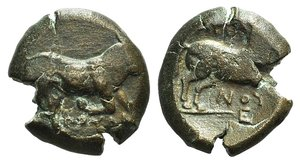 D/ Northern Apulia, Arpi, c. 275-250 BC. Æ (20mm, 8.716g, 12h). Poullos, magistrate. Bull charging r. R/ Horse galloping r. HNItaly 645. Brown patina, Good Fine