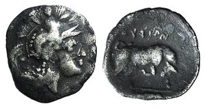 D/ Southern Lucania, Thourioi, c. 400-350 BC. AR Triobol (11mm, 0.79g, 9h). Helmeted head of Athena r., helmet decorated with Skylla holding trident. R/ Bull butting r.; in exergue, fish r. HNItaly 1806; SNG ANS 1138-47. Dark patina, Good Fine