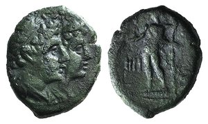 D/ Bruttium, Rhegion. Second Punic War, c. 211-201 BC. Æ Triantes (14mm, 2.90g, 12h). Jugate heads of the Dioskouroi r., wearing piloi and laurel wreaths. R/ Demeter standing l. holding grain ears; IIII to l. HNItaly 2557; SNG ANS 766–7. Green patina, VF